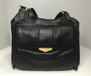 """Capezio Navy Black Leather Shoulder Bag with Long Strap 12"""" Long 10"""" Height"""