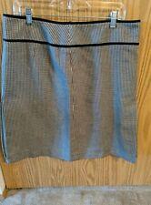 Ann Taylor Loft skirt size 12 plaid pleated lined black white gray career wear