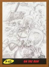 Mars Attacks The Revenge Bronze [25] Pencil Art Base Card P-42 On the Run