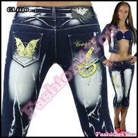Women's Capri Jeans Ladies Crazy Age Cropped Short Jeans Size 6,8,10,12,14 UK