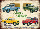 Land Rover over the ages advertising retro vintage metal sign