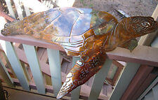 Aquatic Sea Turtle large Metal Decor copper/bronze plated