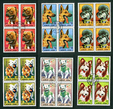 AJMAN 1971 DOGS / SPACE / RABBIT SET OF ALL 6 BLOCKS 4 COMMEMORATIVE STAMPS CTO