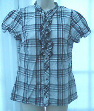 NEXT GREY TONED AND BLACK CHECKERED CAP SLEEVED COLLARLESS BLOUSE - SIZE 12