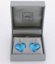 Lalique Blue Crystal Sterling Silver Heart Drop Earrings - New & Boxed RRP £150