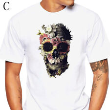 Floral Skull Pattern Men's Summer T-Shirt Cotton Short Sleeve White Tees Tops C8