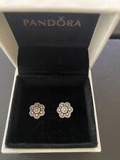 Pandora Flower Stud Earrings Silver