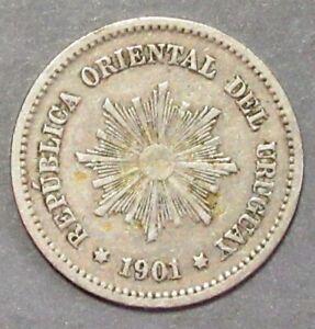 URUGUAY 1901A FIVE CENTESIMOS