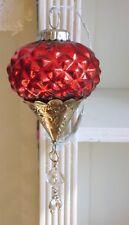 SALE 20 %, Zapfen,Glaskugel, Bauernsilber,Glas / Metall, Rot,Brocante, 16 cm