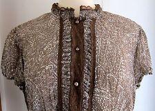 WOMEN'S BLOUSE LACE TRIM Sz L (12-14) Faded Glory Originals Crinkle Fabric MINT