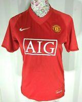 Manchester United Home Shirt - Boys - AIG - 2007 2009 - Size YXL Good Condition
