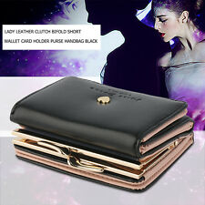 Lady Leather Clutch Bifold Short Wallet Card Holder Purse Handbag Black UI
