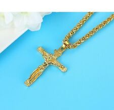 "Extremely Nice 18k Yellow Gold Jesus Crucifix Cross Pendent & 24"" Necklace"