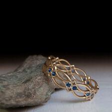 Vintage 18K Gold Blue Sapphire Eternity Ring Wedding Party Women Men's Jewelry