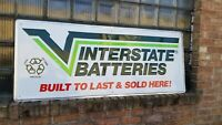 Vtg Original Embossed Interstate Batteries Metal Dealer Sign 5 ft Gas Oil garage