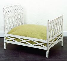 Antique White Iron Lattice Doll Bed | Fretwork Vintage Style