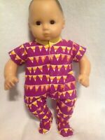 """Bitty Baby Halloween Purple candy corn sleeper pajamas 15"""" girl doll clothes fit"""