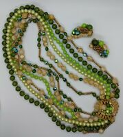 Vtg 1950s Six Strand Necklace W/ Gorgeous Clasp & Matching Clip On Earrings