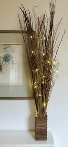 98cm tall Brown willow in free wood vase, 20 warm LED lights weddings Xmas