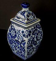 "Cobalt Blue & White Covered Urn w/ 22K Gold Accent Paint 6.25"" Temple Jar & Lid"