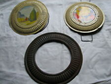 Lot of 2 ( 3 pieces ) Vintage Round Chimney Flue Stove Pipe Cover ~ Fall Colors