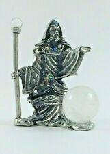 Pewter Conjuring Wizard with 20mm Quartz Crystal Ball & Crystals
