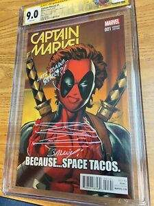 Captain Marvel (2016) 1 CGC 9.0 (white) Bagley Signed/Sketched Deadpool Cover
