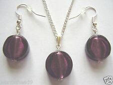 Purple silver foil glass round coin bead pendant chain necklace & earrings set