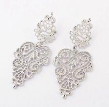 Silver Chandelier Vintage Lace Drop Dangle Earrings