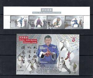 Macau 2021 Wushu  –  Chinese Martial Arts and Health stamp set TOP