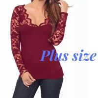 Plus Size Burgundy Low-Cut V-Neck Long Sleeve Lace Stretchy Blouse Top 1X/2X/3X