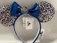 2021 Disney Parks WDW Annual Passholder Blue Sequined Minnie Mouse Bow Ears New
