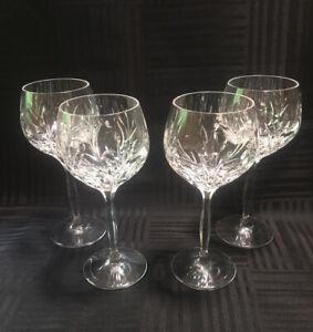 "Noritake Glass Rothschild Wine Goblets ~Set of 4 ~ Clear Cut 7 1/4"""