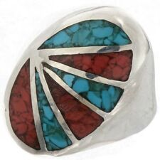 NAVAJO Mens' STERLING SILVER Inlaid TURQUOISE and CORAL ring