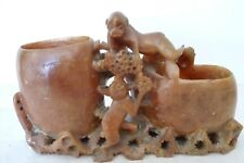 Vintage Chinese Soap Stone Brush Wash, Monkeys