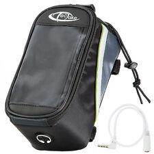 Bolsa funda frontal bicicleta manillar bolso bici móvil smartphone L negro-verde
