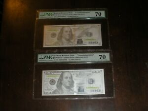 2017 $100 Franklin Currency silver Strike 5 Grm 2 Consecutiv Proof graded 70 PMG