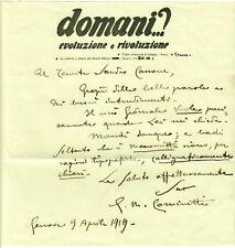 GG143-REGISTA SCENEGGIATORE, GIAN  MARIA COMINETTI, AUTOGRAFO SU LETTERA, 1919