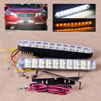 2x Car 12V 30 LED DRL Daytime Driving Fog Running Light Turn Signal Lamp Strips