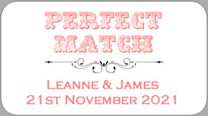 Mini Perfect Match Wedding Favour Labels Personalised Stickers Choice of Colours