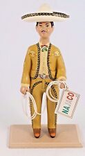 Charro/Horseman Lupita Doll Najaco Ceramic Figurine Ochre Mexican Folk Art