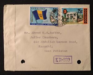 BARBADOS TO PAKISTAN COVER WITH PAK INDIA WAR CENSOR CANCEL KR-239 RARE L@@K!