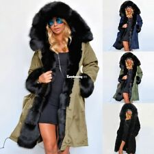 Warm Long Coat Fur Collar Hooded Quilted Jacket Slim Winter Parka Outwear Womens