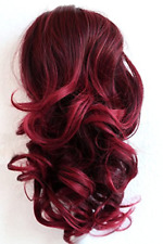 "PRTTYSHOP Hair Piece Pony Tail Extension Draw String Voluminous Curly 14"" red #"