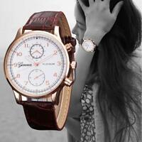 GENEVA Woman Mens Stainless Steel Leather Band WATCH Analog Quartz Wrist Watches