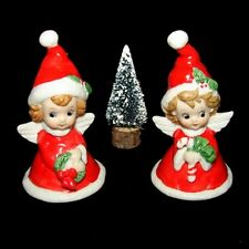 2 Vintage Lefton Angel Girl Bell Figurines with Christmas Tree