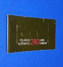 VTG 1970 Polaroid Instant Land Pack Camera Auto 240 Instruction Manual Booklet