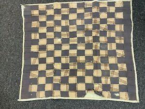 """1920's Doll Quilt- 25""""x28""""- One Patch Pattern- Dark Gray,Beige,Brown -SALE"""