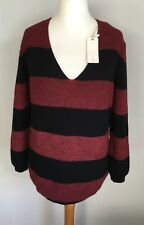 GAS Ladies Red Black Striped Jumper BNWT Size XL 14 Alpaca Wool Blend