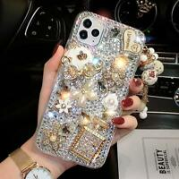 For iPhone 12 11 Pro XS Max XR 8 7  Glitter Bling Pumpkin Car Diamond Case Cover